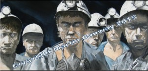 'Survivors' A watercolour by Martin Conway - Miners leavng the mine - appropriate at this time